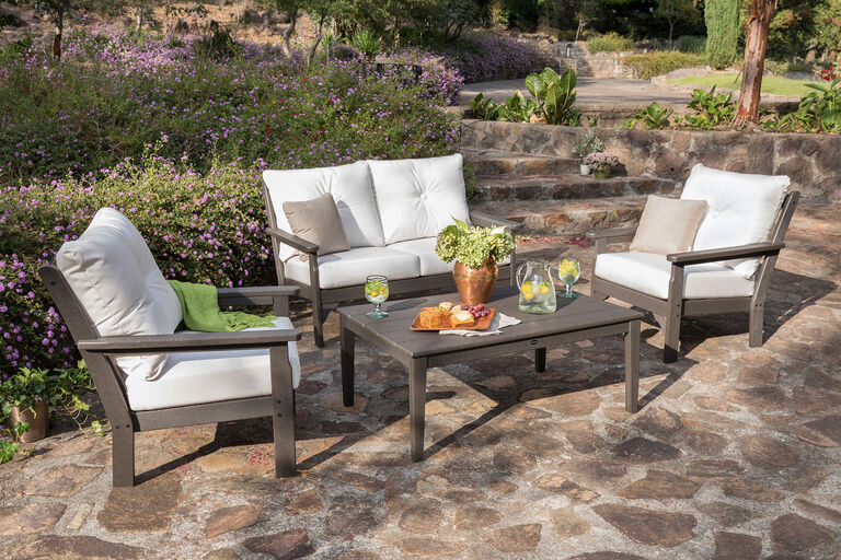 Vineyard by Polywood lounge furniture collection on paver stone patio