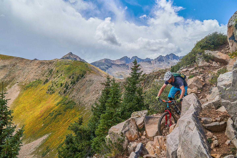 mountain biker riding in rocky environment