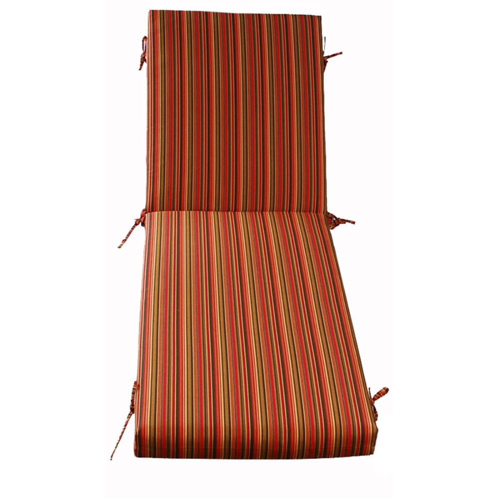 Chaise Cushion with Tie-ons with orange, green and yellow Stripes