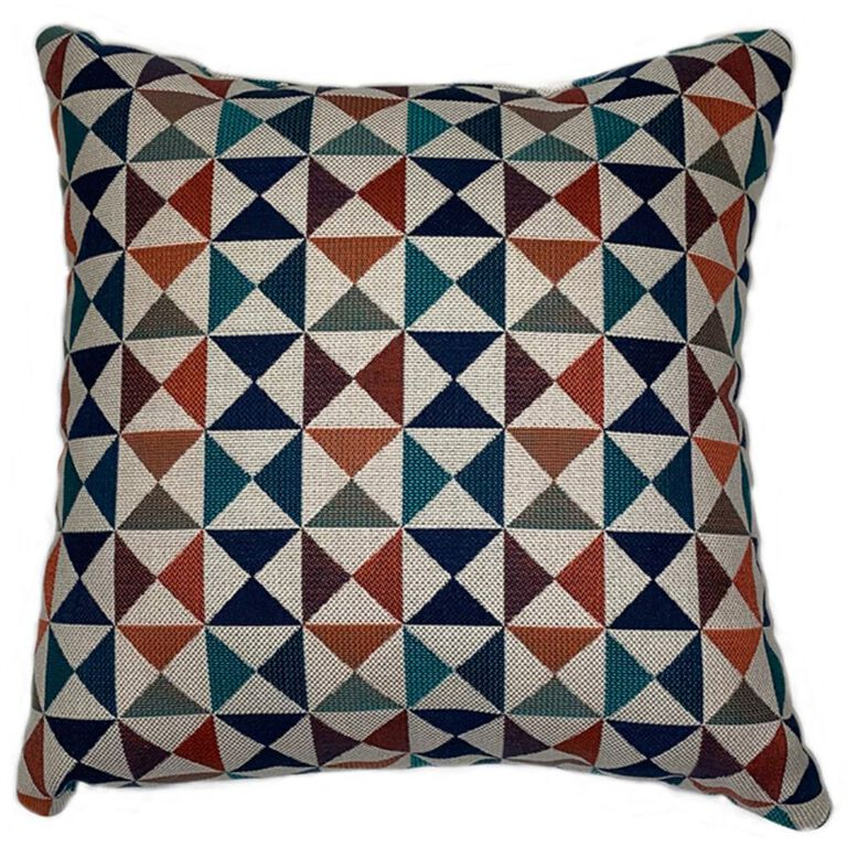 Patterned Cushion with red, blue, and orange Triangle