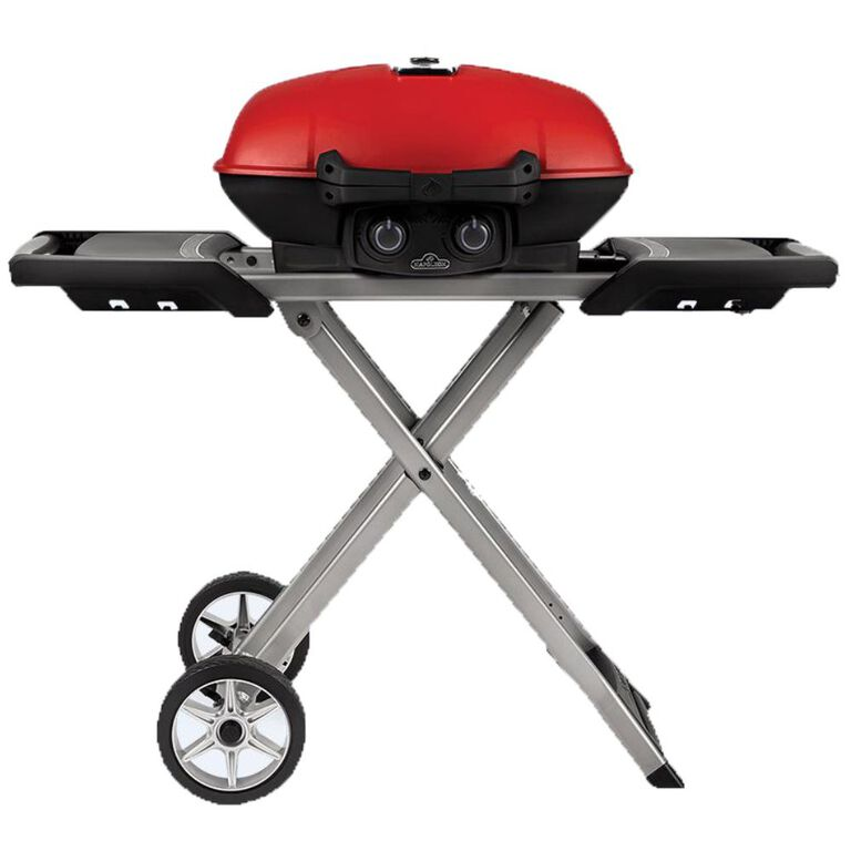 Red Travel Grill with Pop Up Stand and Side Arms