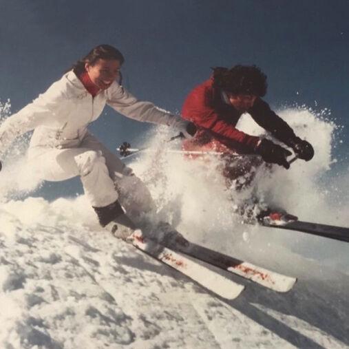 vintage 80s skiers