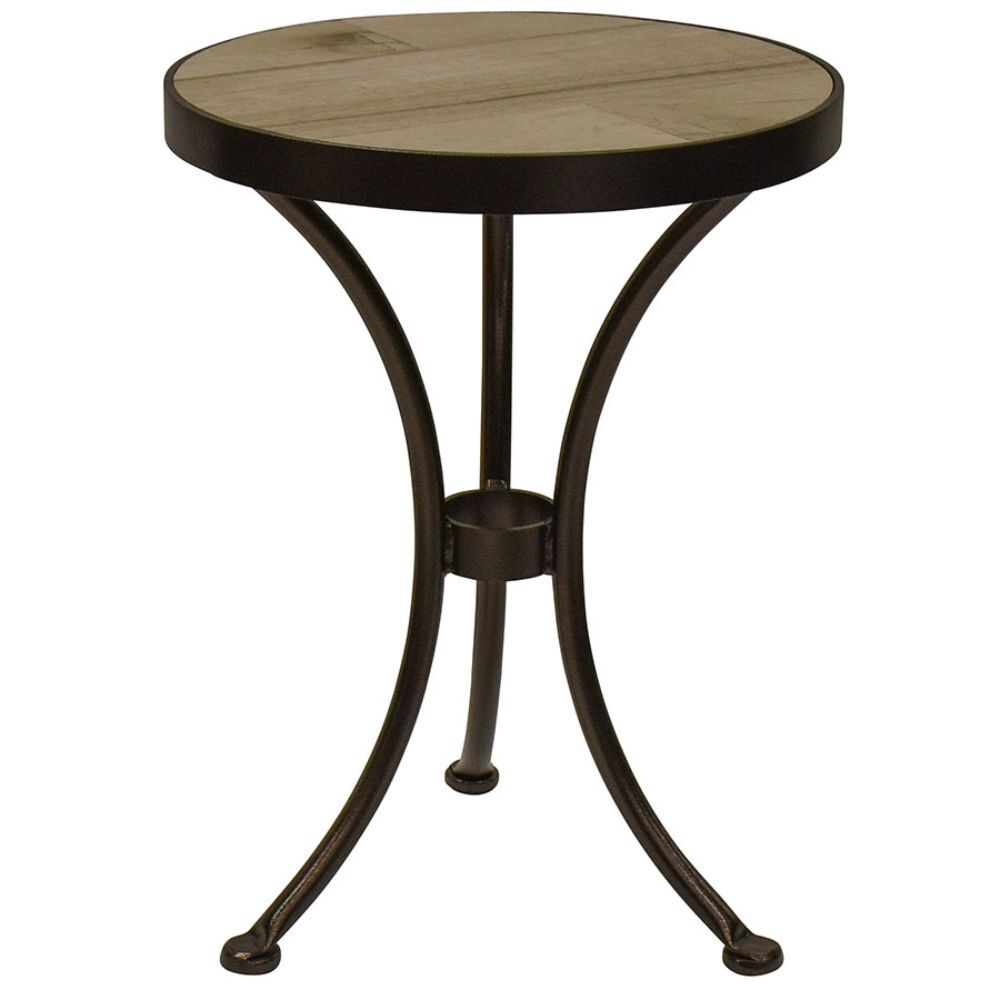 Round wood-top end table with 3-leg stand