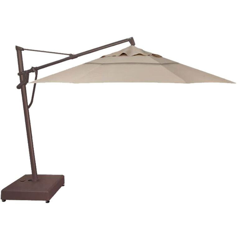 Beige Patio Umbrella on Cantilever With Wheeled Base
