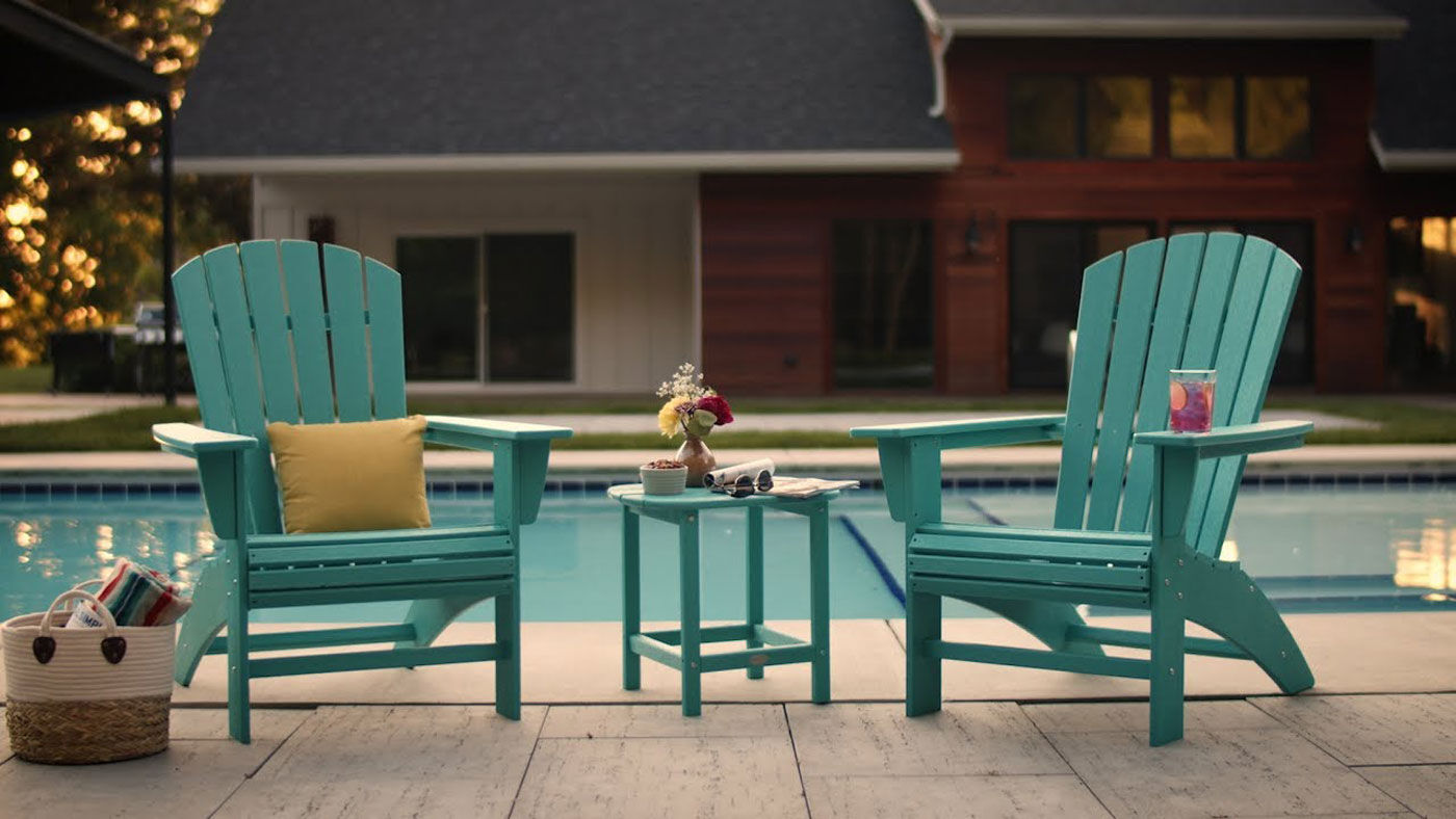 Nautical adirondack patio chairs and table by Polywood