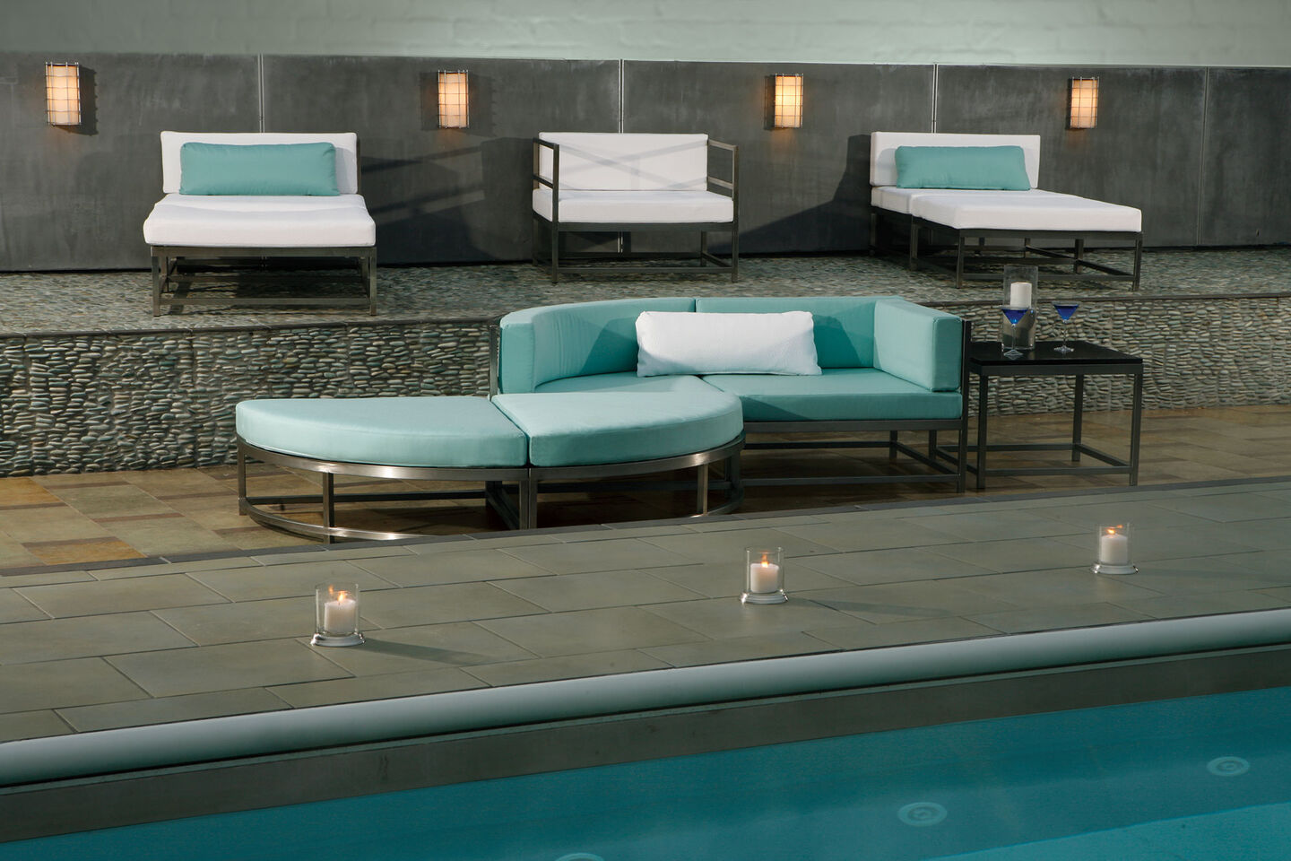 spa with chaise lounges and sectional sofas