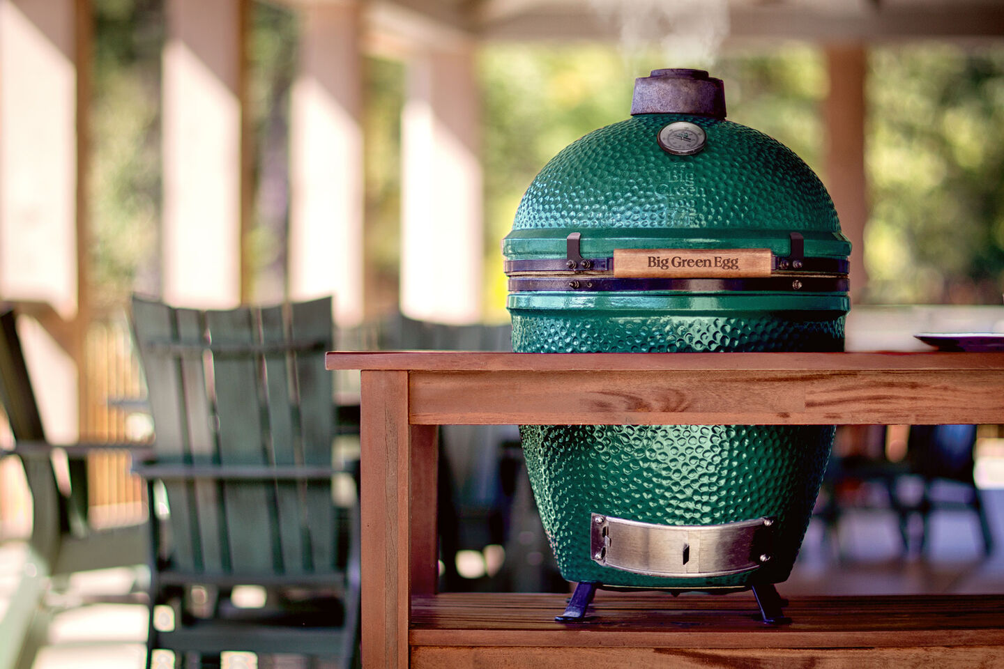 Big Green Egg Ceramic Grill on Patio