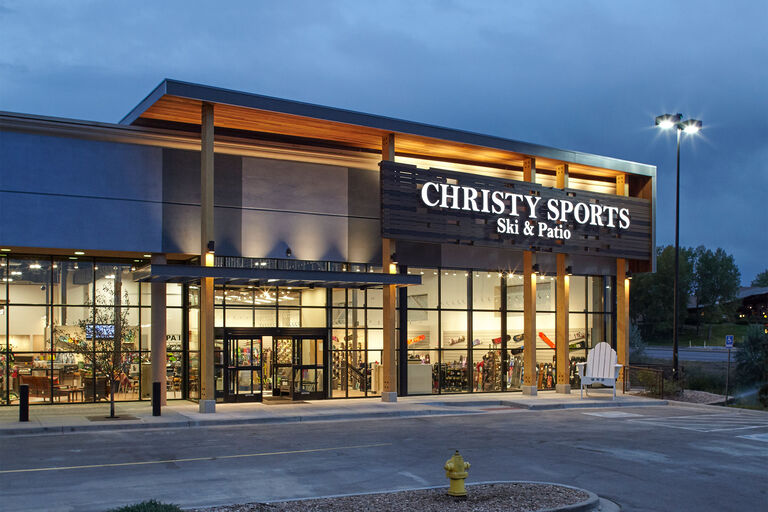 Exterior of Christy Sports store in Park Meadows at night