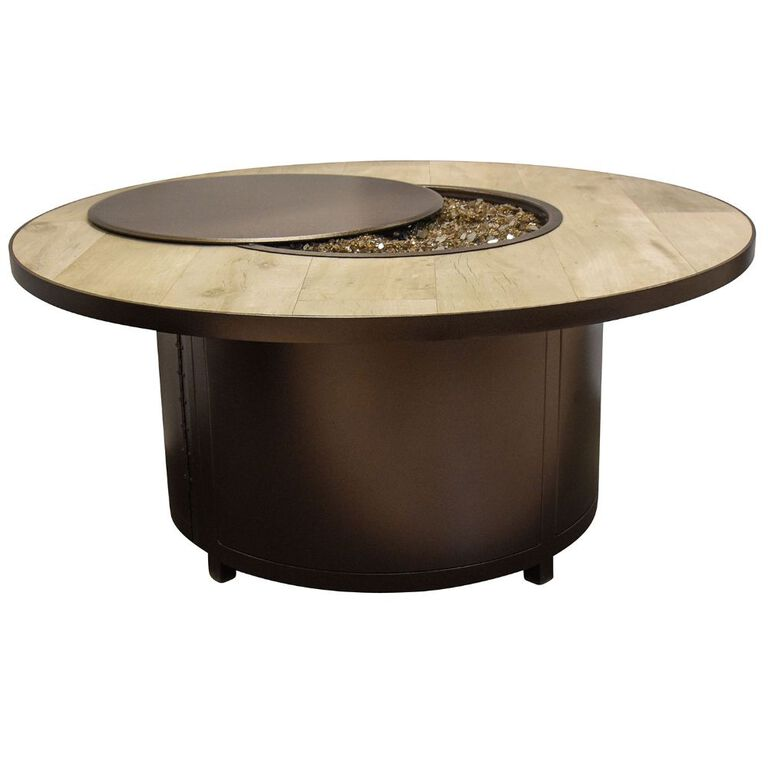 Large Round Fire Pit with Metal base and extending Wood Top