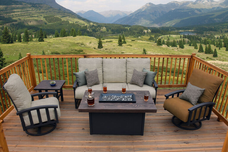 Liberty by Homecrest deep seating patio furniture collection with fire pit and outdoor cushions