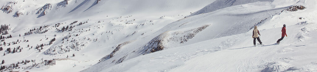skier and snowboarder on a catwalk above tree line
