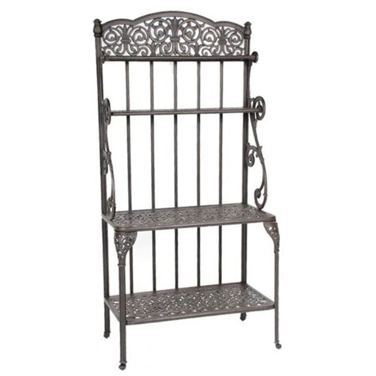 Cast Iron 2 shelf Bakers Rack with Intricate top design