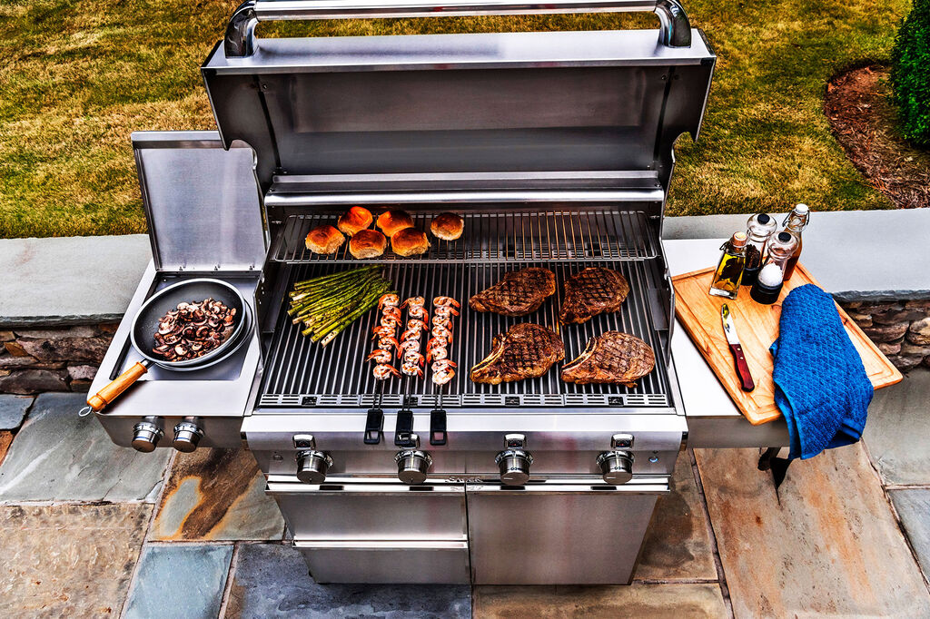Saber four-burner stainless steel grill