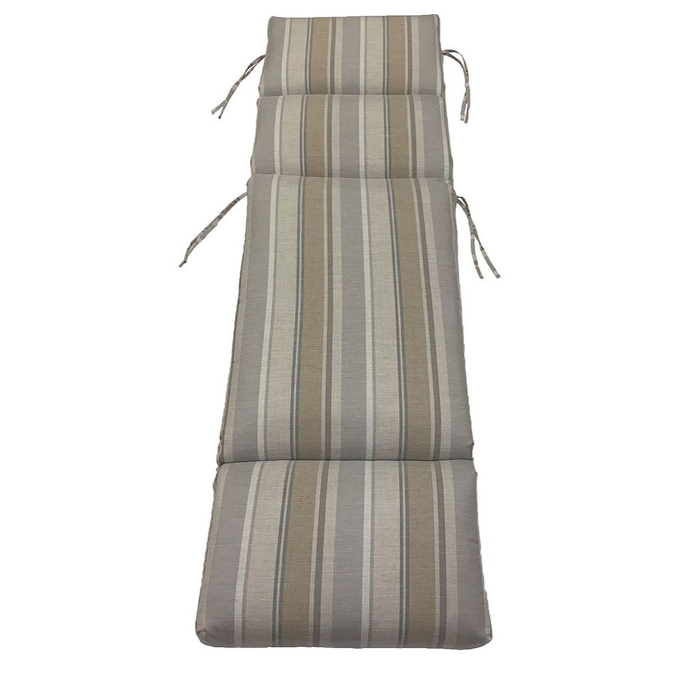 Folding Chaise Cushion with Tie-ons in Brown, and grey stripes