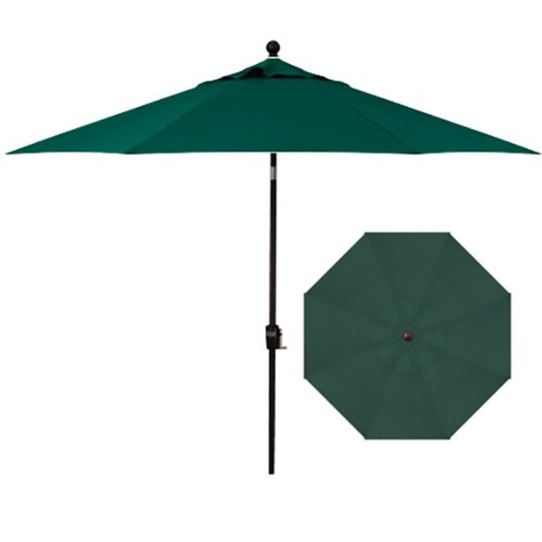 Dark Green Patio Umbrella with Side and Top View