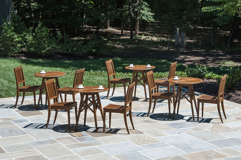 cafe with commercial wooden patio furniture