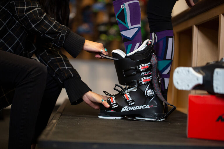 Custom boot fitting at Christy Sports in Cherry Creek