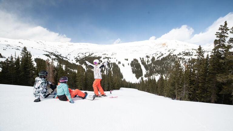 family skiing rental skis