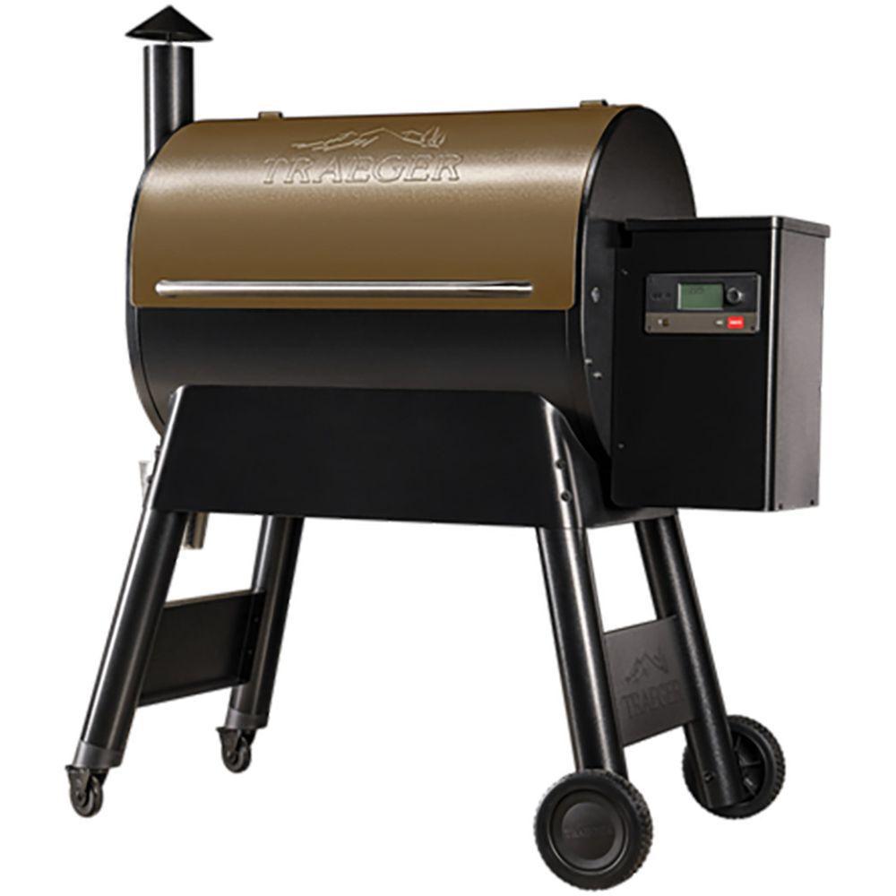 Bronze-Top Pellet Grill with wheels