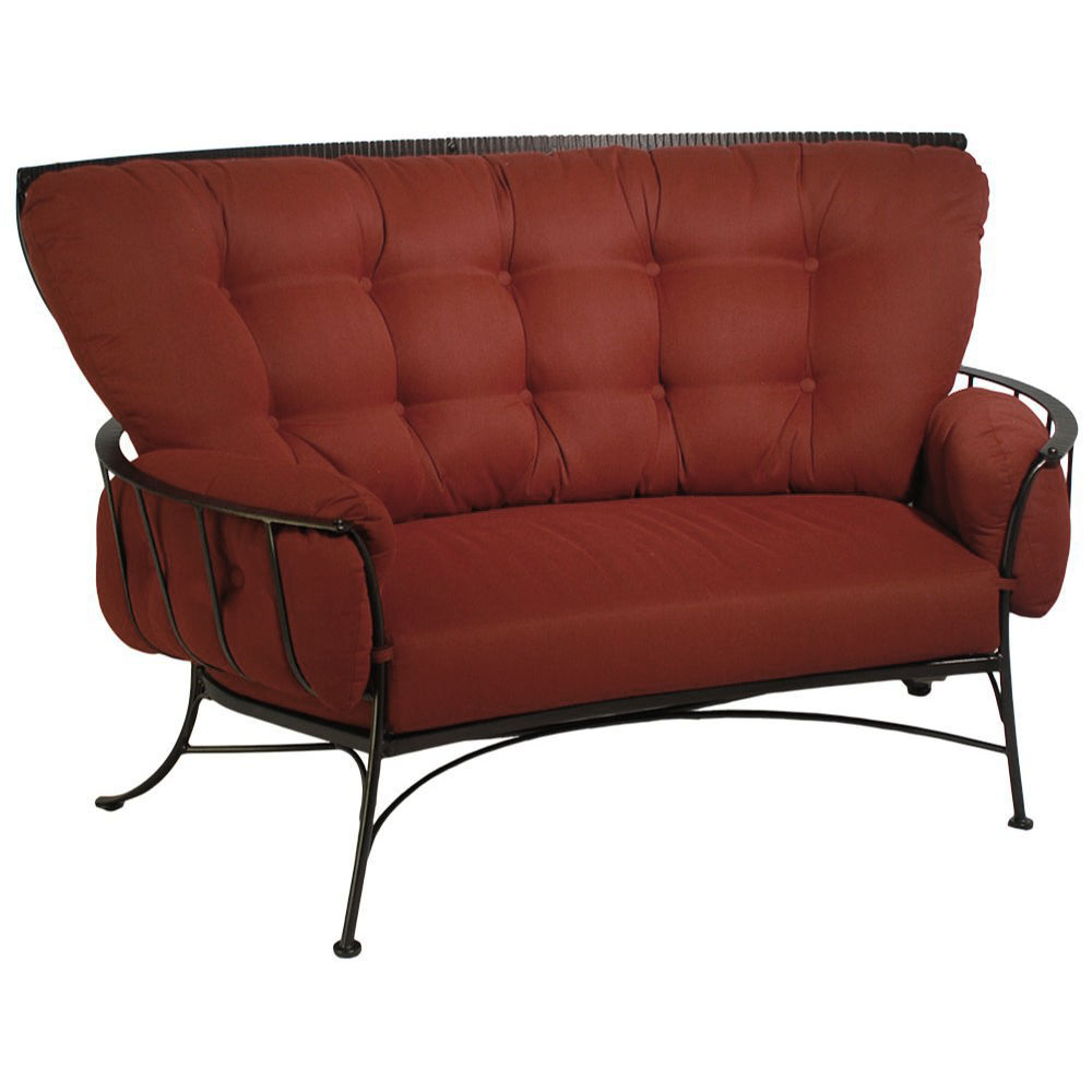 Curved Patio Love Seat with Thick Red Cushion