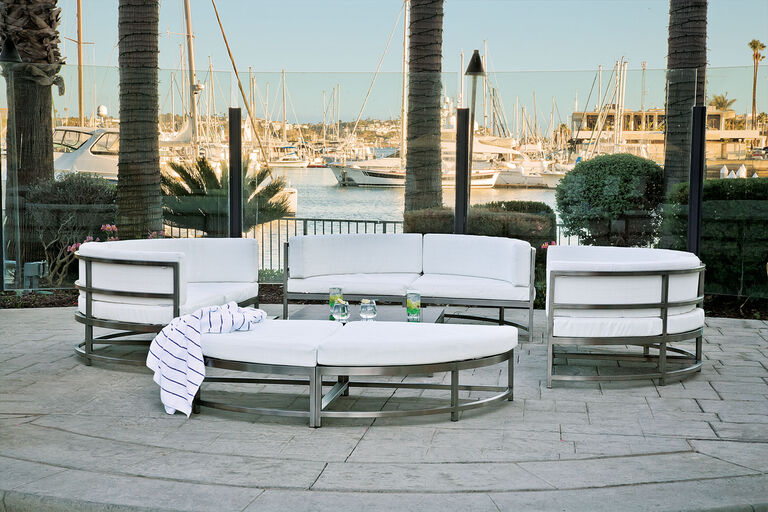 country club with modern deep seating patio furniture