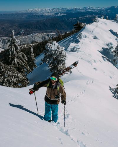 dude hiking a ridgeline