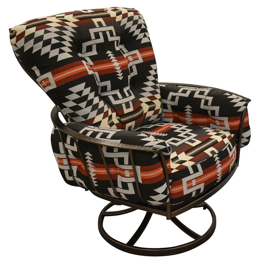 Swivel Patio Chair with thick Cushion and red, brown and tan pattern