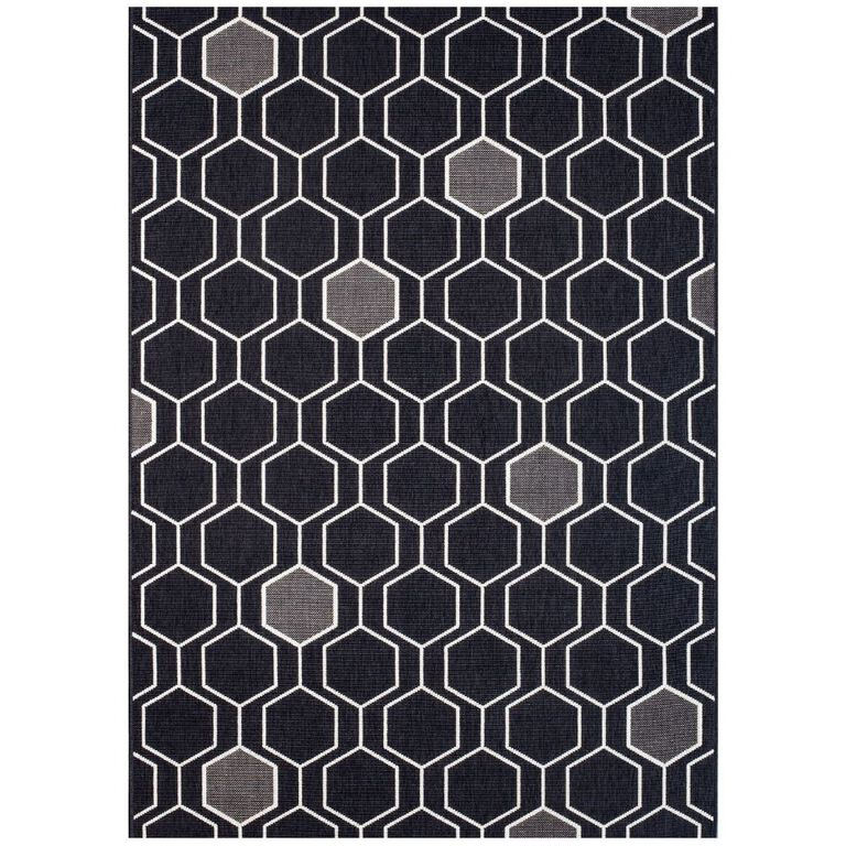 Black and Grey Geometric Rug with Hexagon Pattern
