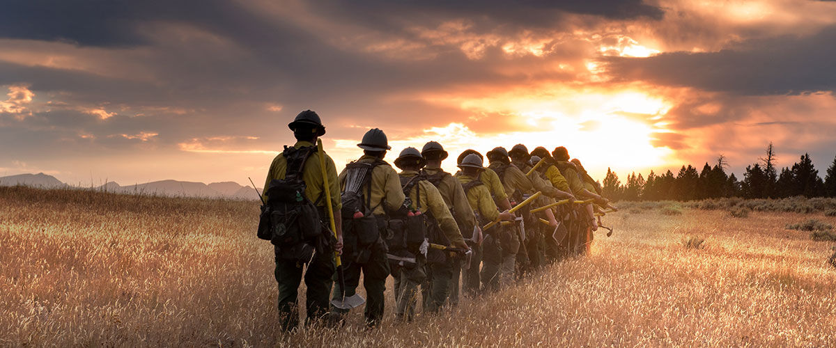 wildland firefighters walking through a field