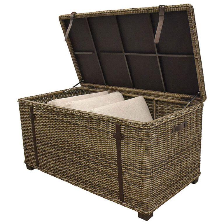 Wicker Patio Cushion Storage Chest