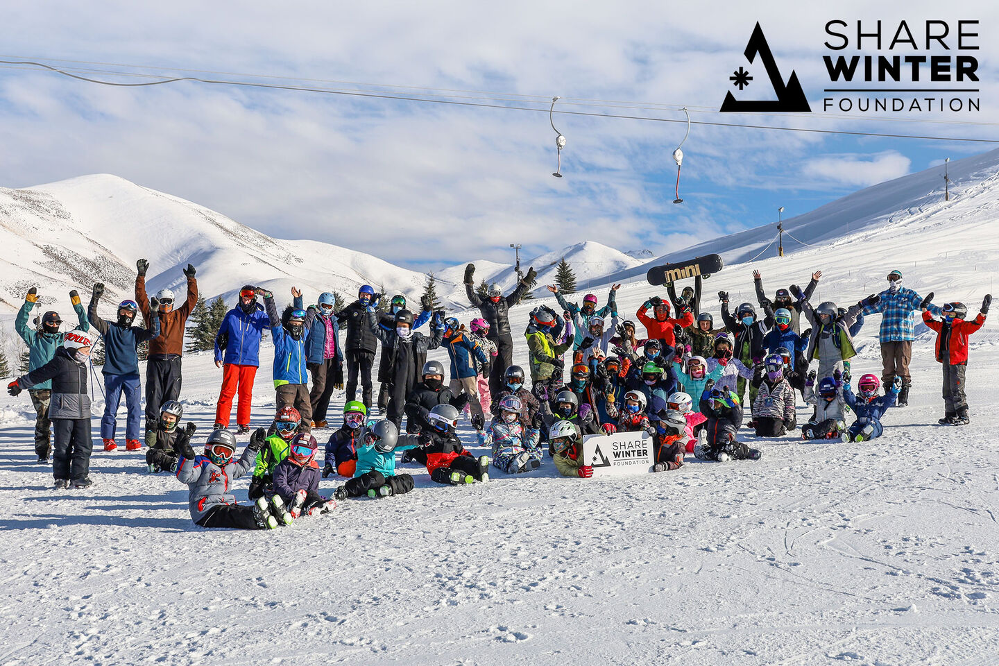 Group of skiers enjoying a day on the mountain