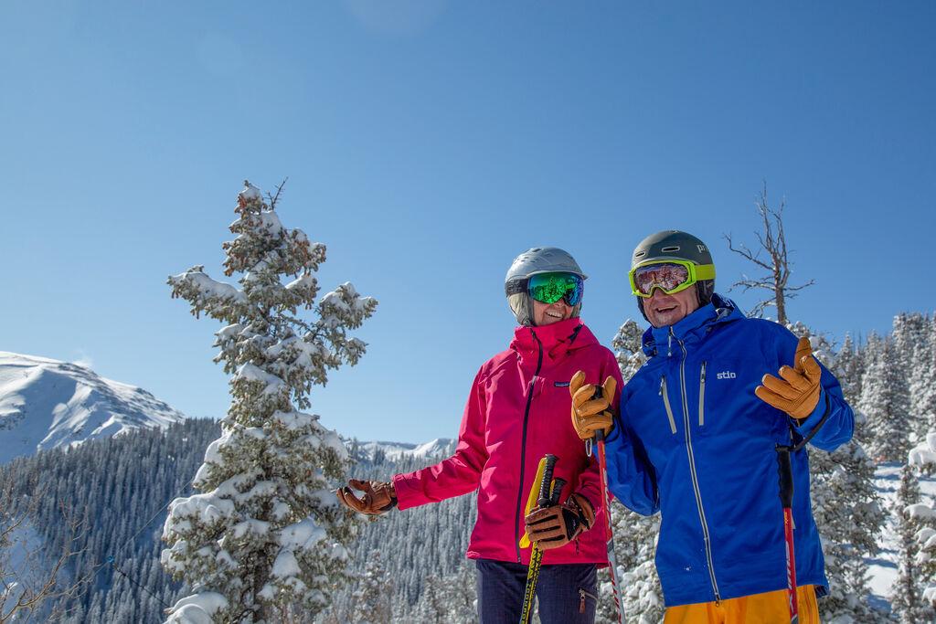Man and woman enjoying beautiful bluebird day in Taos