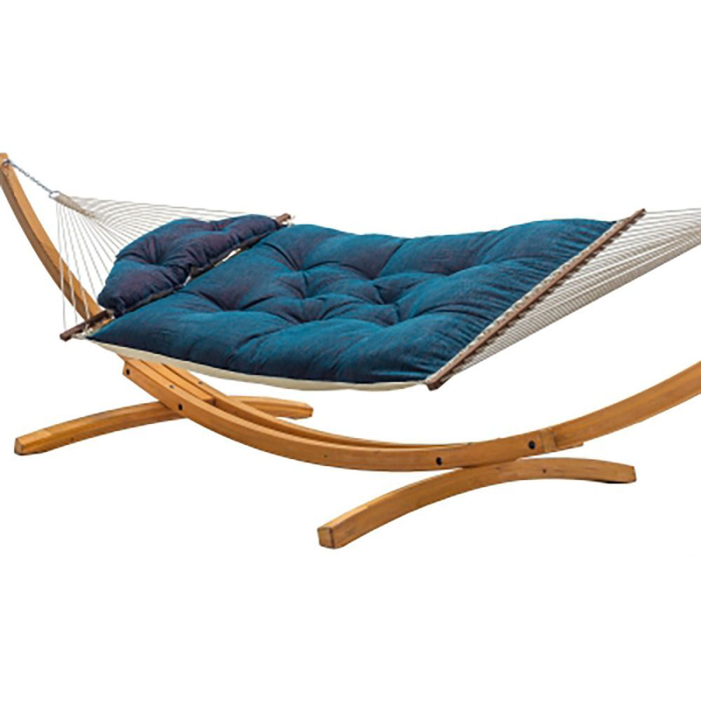 Blue Tufted Hammock on Wooden Stand