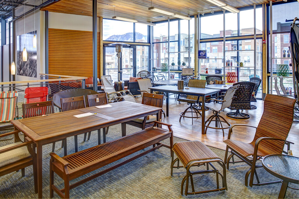 Christy Sports patio furniture showroom in Boulder