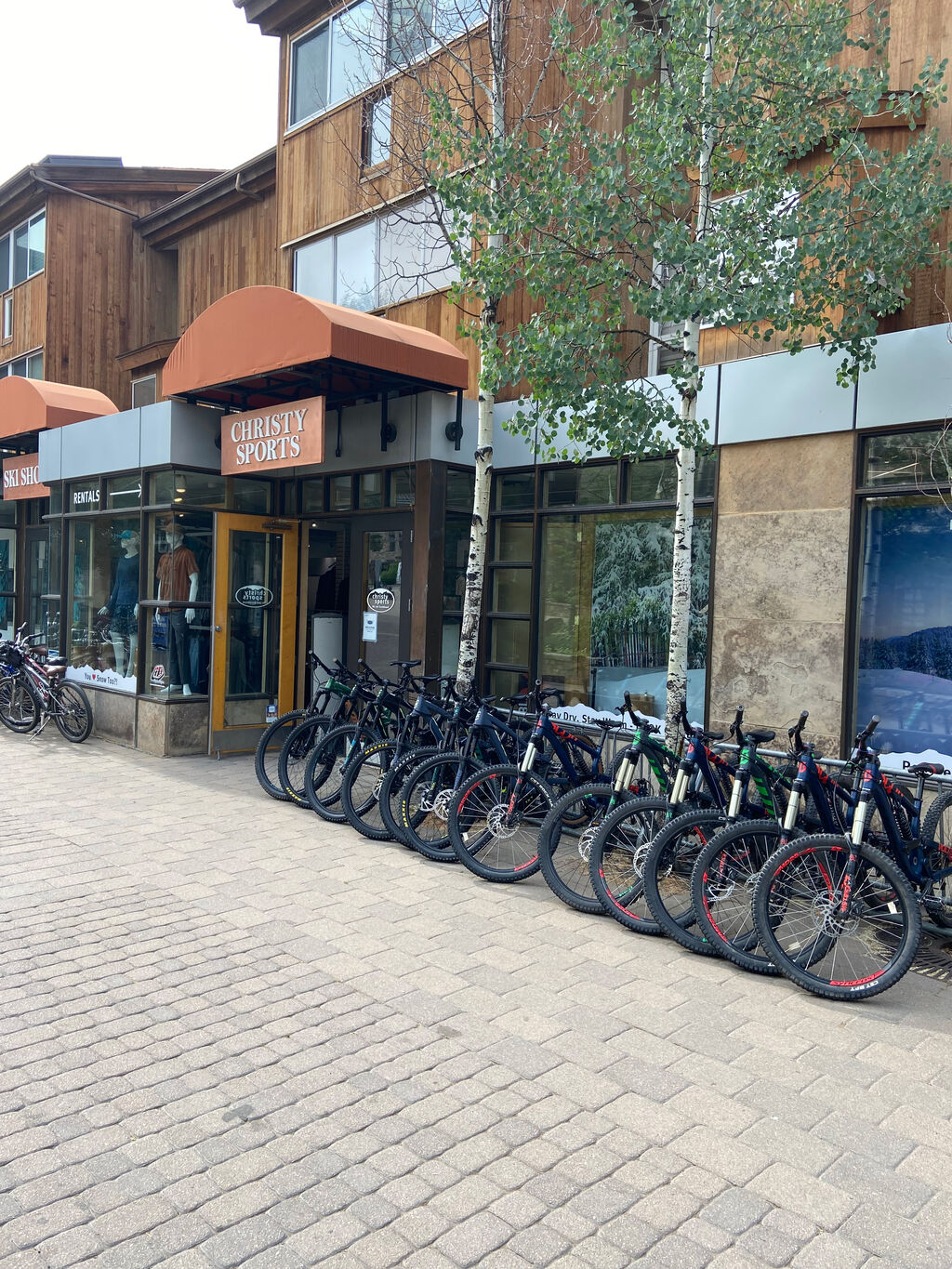 Christy Sports - Lionshead Village, Vail Storefront in the summer with rentable bikes out front