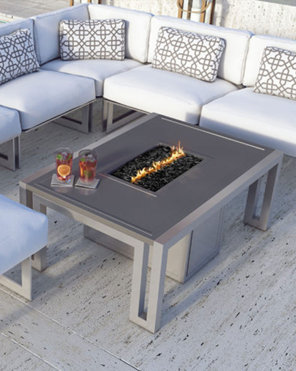 Rectangular gray fire pit with outdoor furniture