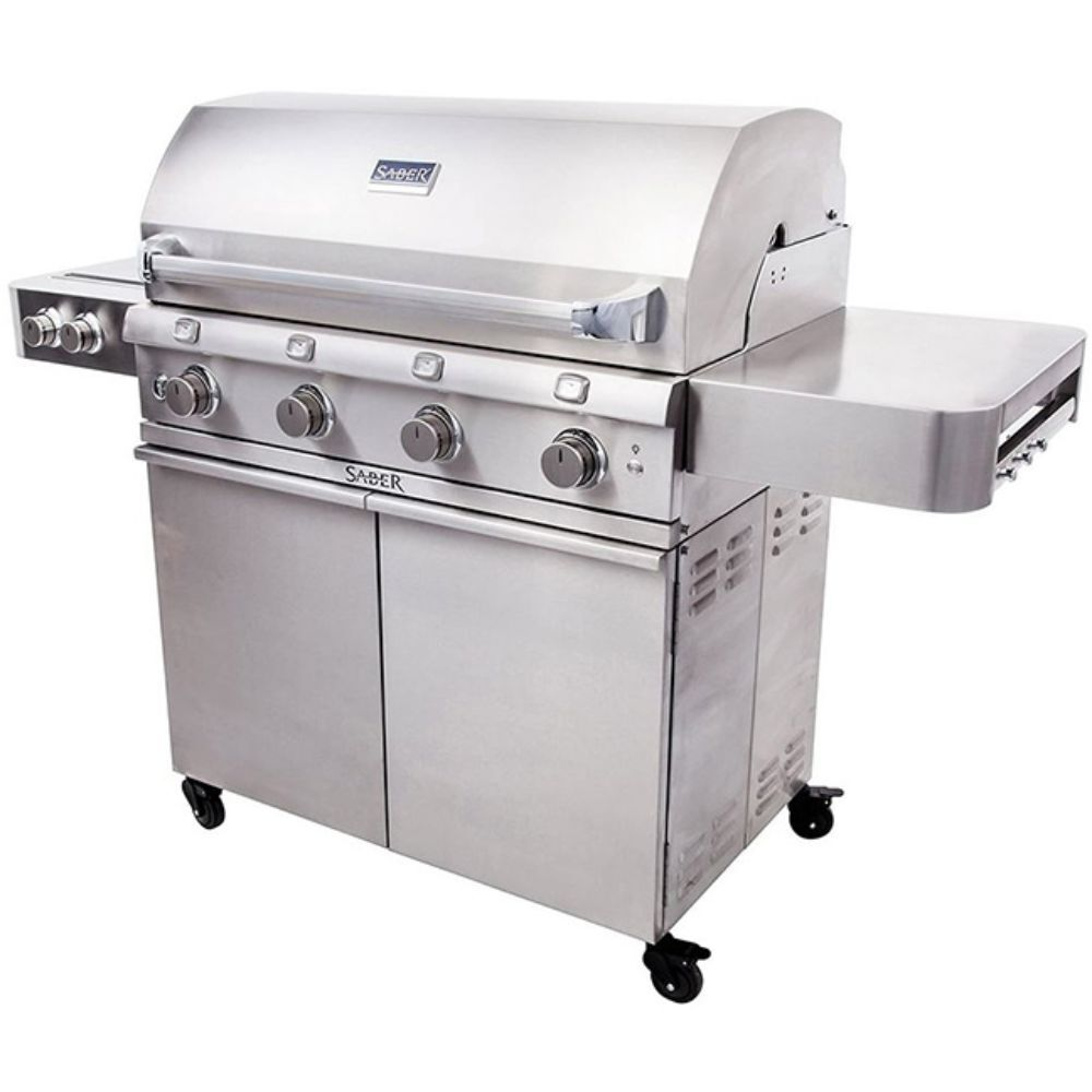 Large Stainless Steel Grill with Side Burners