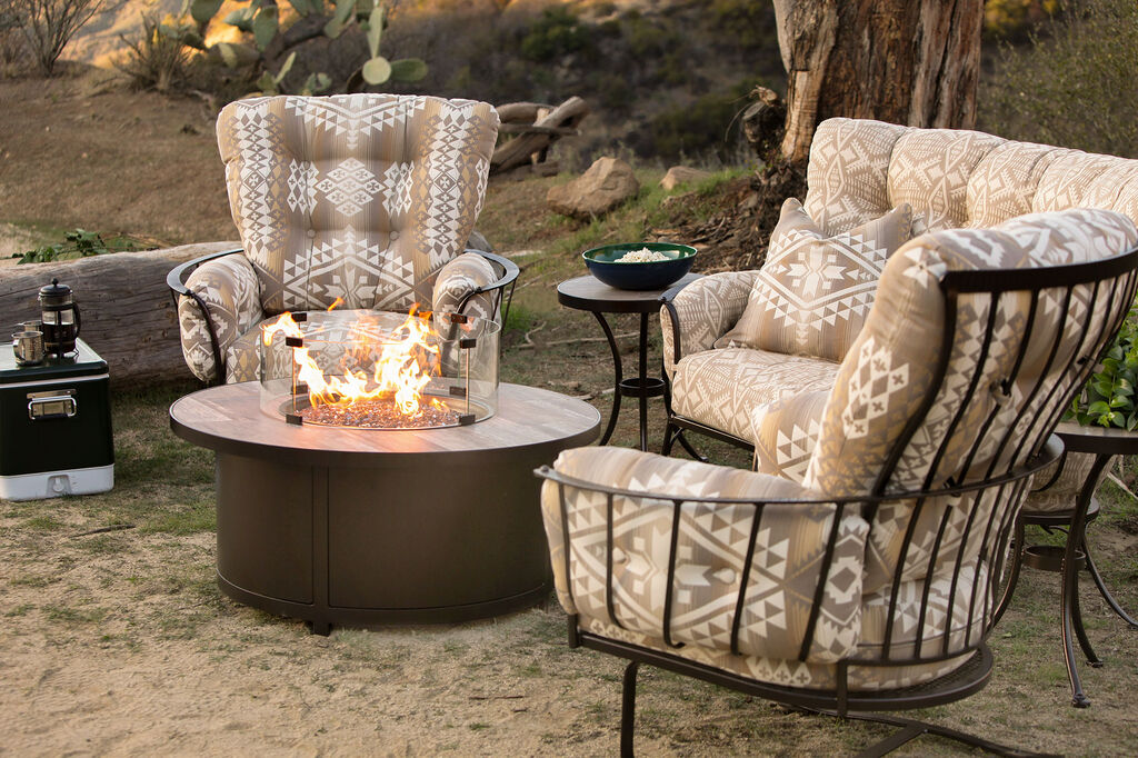 OW Lee tile top fire pit with lounge furniture