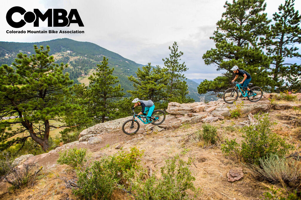 Mountain bikers blazing trail in Colorado