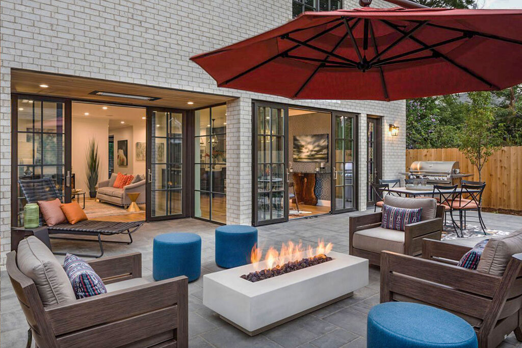 Custom ordered outdoor furniture set from Christy Sports for Denver Life house