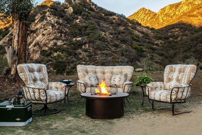 Monterra by OW Lee wrought iron lounge furniture collection with fire pit